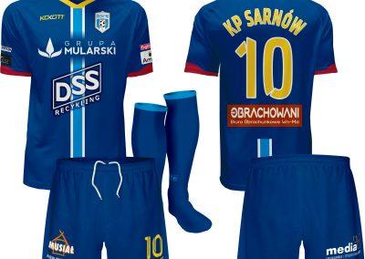 Koszulka piłkarska, spodenki, getry blekitni sarnow 2019